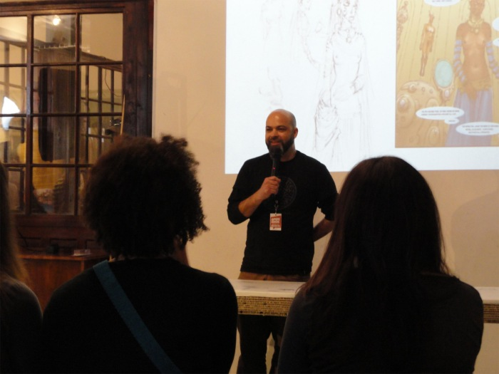 Daniel Hugo launching his book Oneironaut & Other Tales at the Open Book Comic Fest