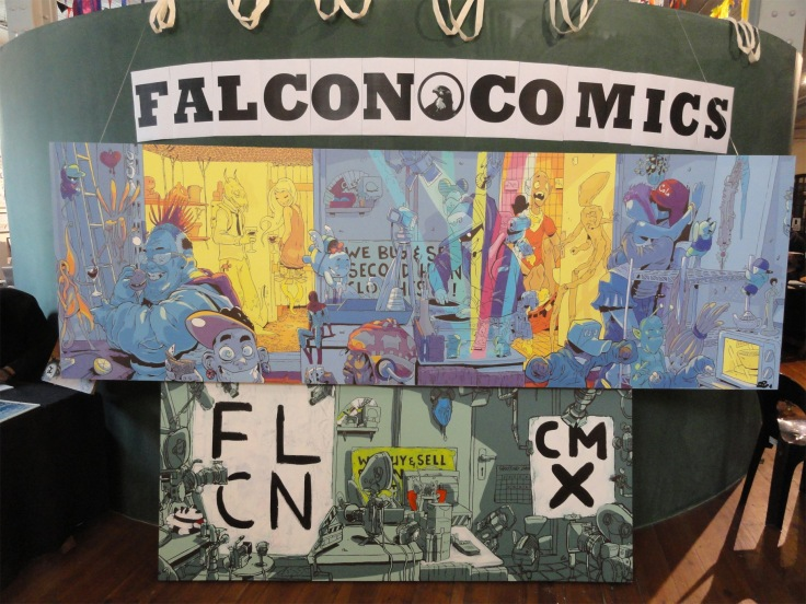 Some of the art by Falcon Comics at the Open Book Comic Fest