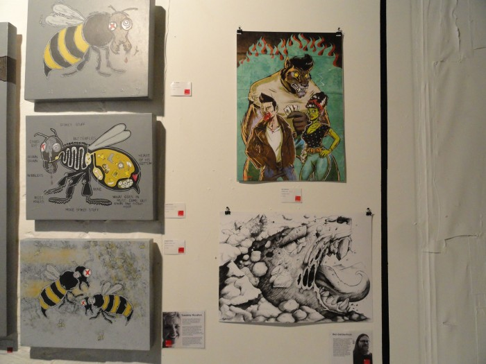 On the left: a few pieces by Tuesday Houston. On the right: a couple of pieces by Ben Geldenhuys.