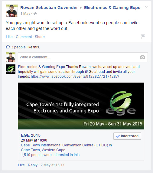 EGE Gaming Cape Town Facebook Event